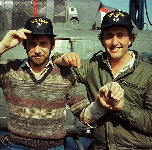 ITN cameraman Ted Henley and Brent Sadler aboard the USS Guam off the Lebanese coast in 1983. Henley and Sadler were both evacuated to the warship after being shot in the village of Damour, south of the capital, Beirut