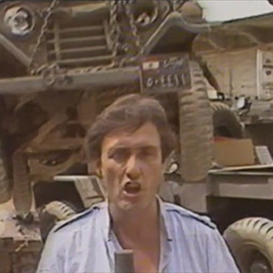 See the moment a Lebanese Army jeep comes loose from a tow truck as Brent delivers a report from Lebanon in 1983