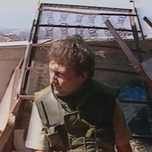 Watch what happens when an incoming artillery shell and machine-gun fire shatter a Brent Sadler report about a fragile ceasefire during Lebanon's Mountain War, 1982–84