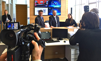 Press Day at N1 Launch, October 2014. l/r Jugoslav Cosic (News Director Belgrade), Brent Sadler (Chairman Editorial Board) Ivana Mikovic (CEO)