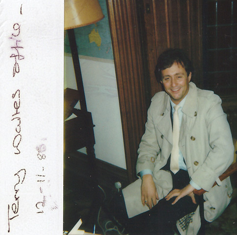 A Polaroid camera shot of Brent Sadler taken in the office of his friend, Terry Waite, at Lambeth Palace. The date, November 12, 1986, is written on the photograph.  Some two months later Waite was abducted and vanished for almost five years