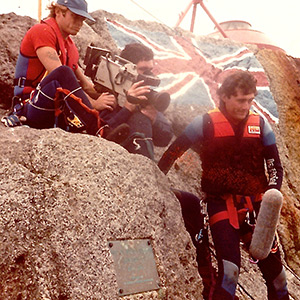 Landing an ITN crew on Rockall in 1985, a remote islet where a British adventurer was staking claim to the rock for Great Britain